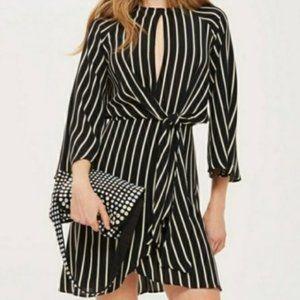 TOPSHOP Black Cream Striped Dress